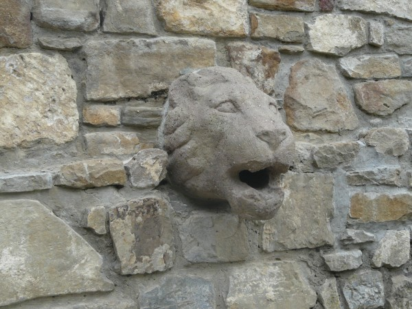 Lion's head made of stone