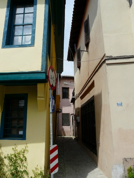 Narrow passage between houses